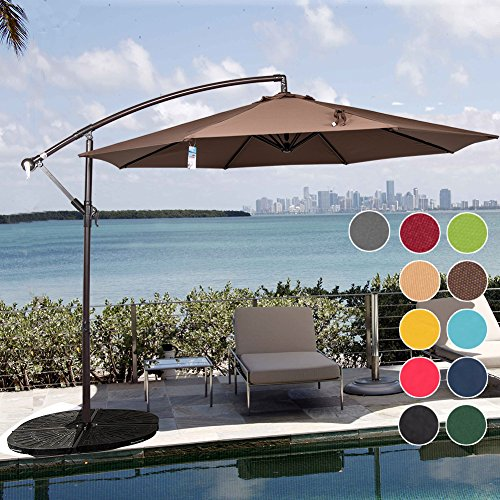 Aluminum Tilt Offset Umbrella - Sundale Outdoor 10 Feet Aluminum Offset Patio Umbrella with Crank and Cross Bar Set, Cantilever Umbrella for Deck, Garden, Backyard, 8 Steel Ribs, 100% Polyester Canopy Shade (Chocolate)