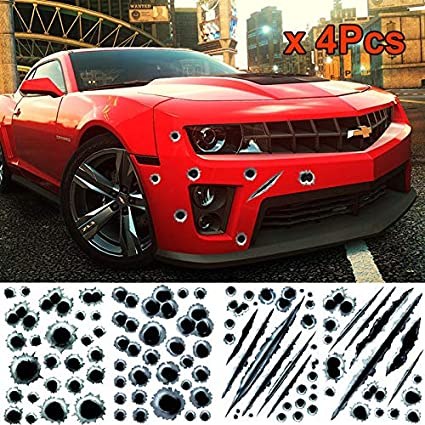 Cool 3D Bullet Hole Car Art Stickers Body Side Decal Graphics Sticker Decoration