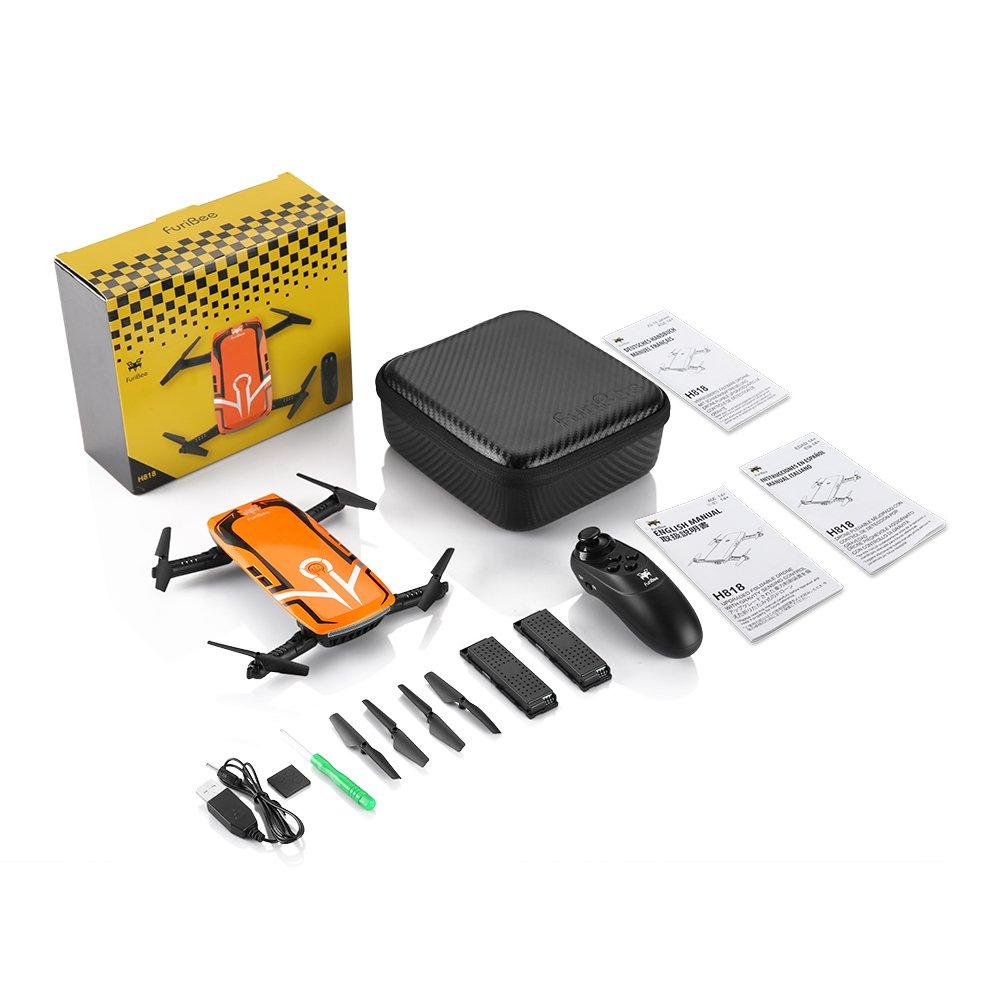 HELIFAR H818 Drone con Camara HD,Mini Dron Plegable WiFi FPV una tecla de Retorno 2.4G 4 Canales 6 Sensor RC Selfie Quadcopter dron con Dos Battries retenci/ón de la altitud