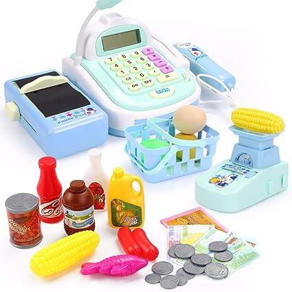 FONGFONG Caja Registradora Electronica de Juguetes para Niños con Micrófono Escáner Luces y Sonidos Juegos de