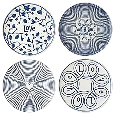 Blue Love 8  Mixed Plates, Set of 4, Elen Degeneres Collection by Royal Doulton