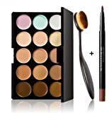Feng Professional 15 Colors Contour Face Cream Concealer Palette + Makeup Blusher Toothbrush Curve Foundation Brush