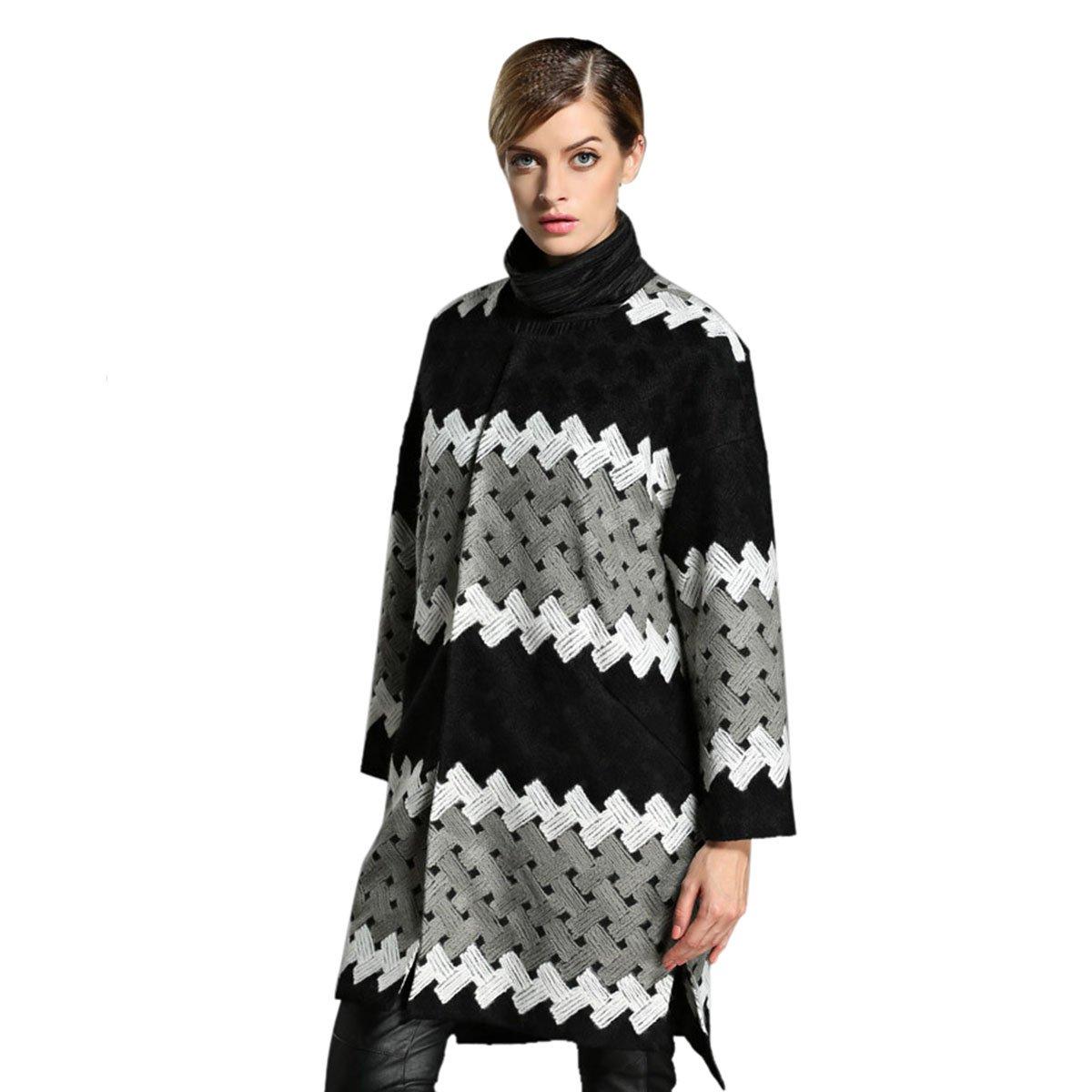 HUASHI Womens Fashion Grid Warm Winter Coat Grey-Black,18W