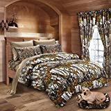 20 Lakes Woodland Hunter Camo Comforter, Sheet, & Pillowcase Set (Queen, White & Forest)