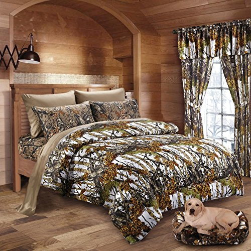 - 20 Lakes Woodland Hunter Camo Comforter, Sheet, Pillowcase Set (Queen, White & Forest)