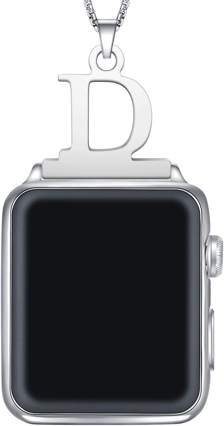 Callancity Pendant Alphabet Letter A-Z Watch Connector Adapter Stainless Steel Box Chain Compatible for Apple Watch Series 5/4/3/2/1 (Alphabet D,42MM/44MM)
