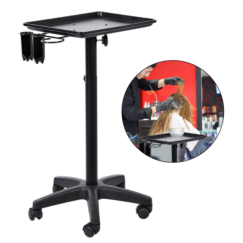 Salon Trolley, Professional Salon Hairdressing Trolley Adjustable Height Rolling Mobile Instrument Aluminium Tray Trolley Aluminum Trolley Hair Instrument Filfeel