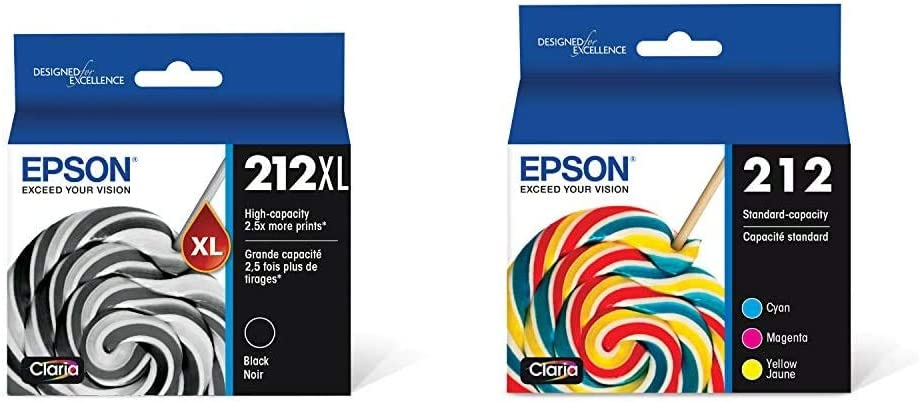 Epson T212XL120 Expression Home XP-4100 4105 Workforce WF-2830 2850 212XL Ink Cartridge (Black) in Retail Packaging & T212 Claria Standard Capacity Cartridge Ink - Color Combo Pack