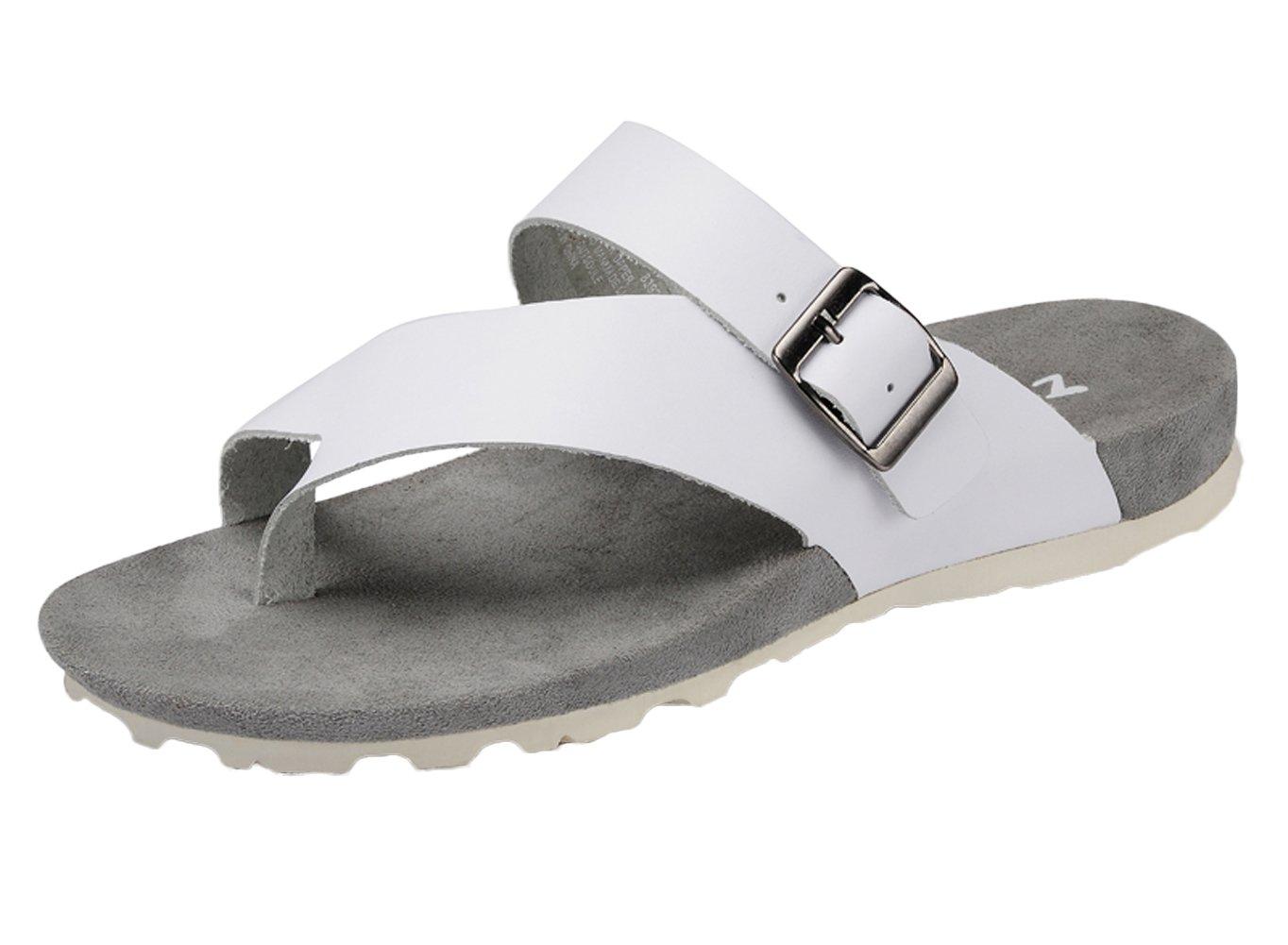 DQQ moda Hombre de piel THONG sandalias de correa 41 1/3 EU|blanco