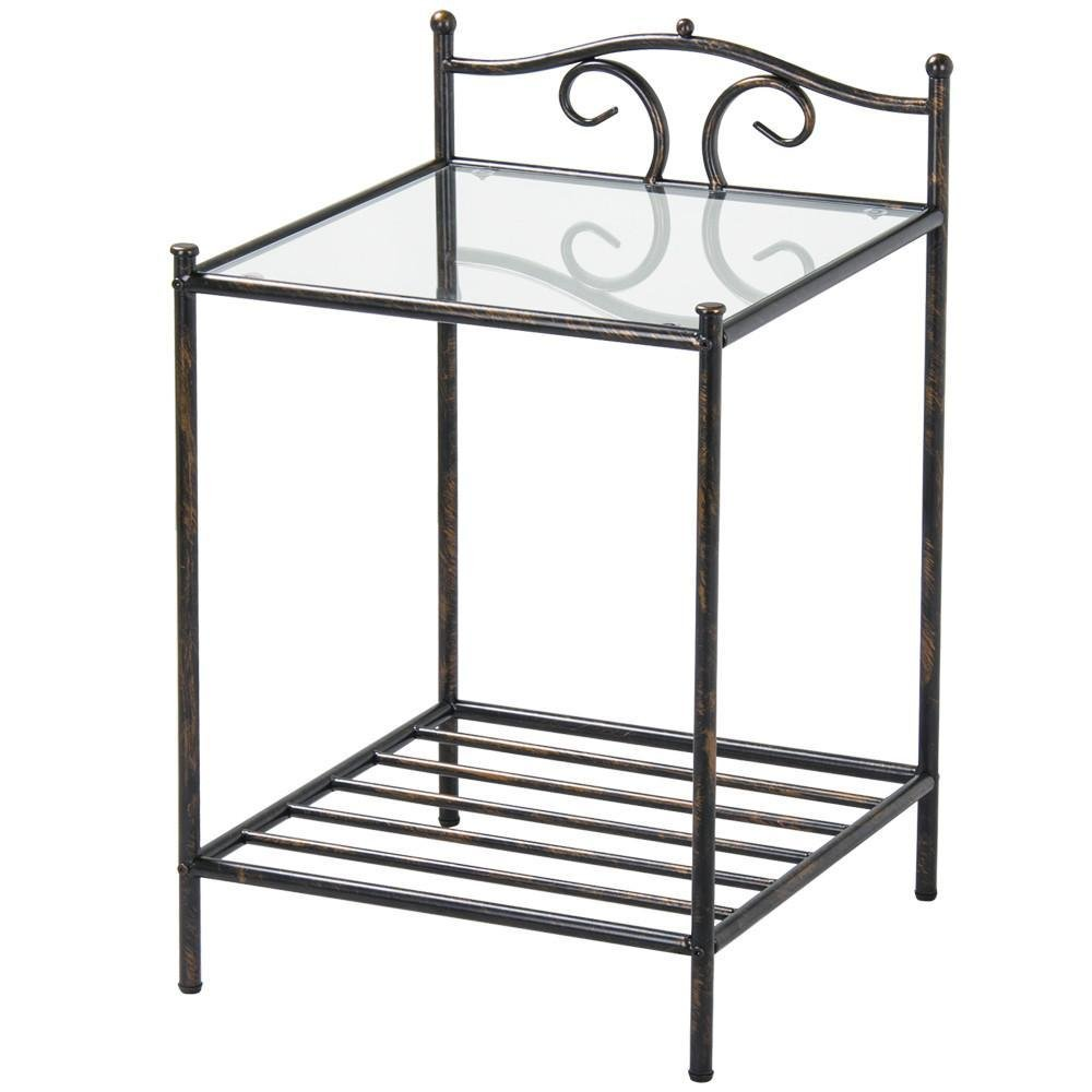 Yaheetech 2 Tier Iron Kitchen Bakers Rack Indoor Metal Plant Stands, Antique Style