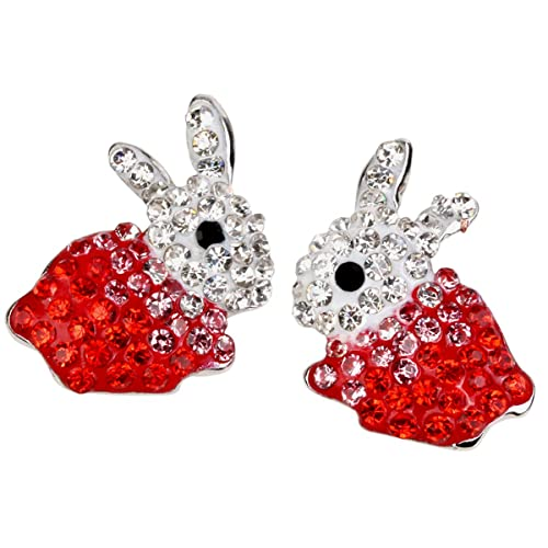 7b7d76050 Amazon.com: Hiddleston Bunny Ears Stud Crystal Earrings Red Silver Rabbit  Baby Charms with Tail Easter Gift for Women Teen Girl Kid Toddler: Jewelry