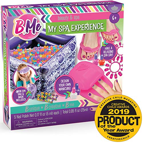 B Me My Spa Experience - Ultimate Kids Spa Kit w/ Nail Polish, Press On Nails, Nail Dryer, Stickers, Decals, Pedicure Pool, Bath Beads, Mask, Slippers, Satin Storage Bag & More - Amazon Exclusive
