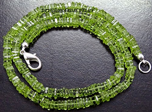 - 100 Cts. Full 17 Inch Natural PERIDOT Gemstone Square HEISHI CUBE 4.25 - 4.50 mm Beads Finished NECKLACE - in Wholesale Price