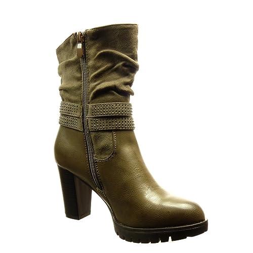Angkorly - Zapatillas Moda Botines flexible botas militares mujer Hebilla strass metálico Talón Tacón ancho alto 8 CM - Caqui FP015 T 41: Amazon.es: Zapatos ...