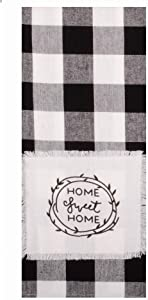 Home Collections by Raghu Buffalo Check Sweet Home Towel, Black, White