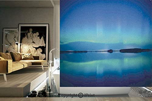 Ylljy00 Decorative Privacy Window Film Unusual Sky Scenery Over Calm Serene Lake Color Reflections Landscape No-Glue Self Static Cling for Home Bedroom Bathroom Kitchen Office Decor Violet Blue