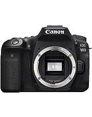 Canon EOS 90D Spiegelreflexkamera (32,5 Megapixel, 7,7 cm (3 Zoll) Vari-Angle Touch Display, APS-C Sensor, 4k, Full-HD, DIGIC 8, WLAN, Bluetooth) Gehäuse, schwarz
