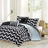 Intelligent Design Nadia Full/Queen Size Bed Comforter Set - Black, Chevron – 5 Pieces Bedding Sets – Ultra Soft Microfiber Bedroom Comforters