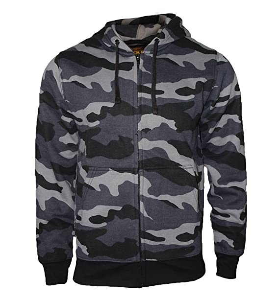 ROCK-IT signori mimetica giacca con cappuccio giacca sudore cerniera  pesante maglione nero  Amazon.it  Abbigliamento c99452265f5