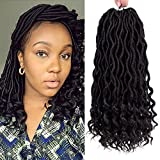 Befunny 6Packs/Lot 14'' Goddess Locs Crochet Hair Short Faux Locs Crochet Braids Hair With Curly Ends Wavy Synthetic Prelooped Crochet Twist Hair Extensions For Women Black Color (1B#)