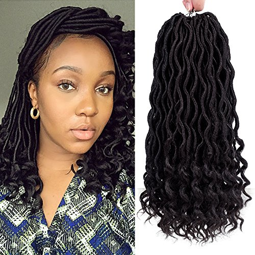 "Befunny 6Packs/Lot 14"" Goddess Locs Crochet Hair Short Faux Locs Crochet Braids Hair With Curly Ends Wavy Synthetic Prelooped Crochet Twist Hair Extensions For Women Black Color (1B#)"