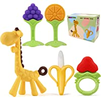 Baby Teething Toys, 5Pcs BPA Free Teething Toys Set Teethers for Babies 0-6 Months Freezer Safe Silicone Teethers Baby…