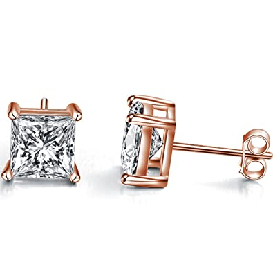 c1b22dcfd Sephla Gold Plated 925 Sterling Silver 4 Prong Square Shape Cubic Zirconia  Stud Earring CZ 4mm to 7mm,Rose/Yellow/White Gold Posted Best Gift for  Women and ...
