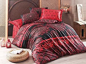 Eponj Home Sehri-Ala Red and Black Single Size 155 x 220 cm Quilt Cover Bedding Set - 2 Pieces