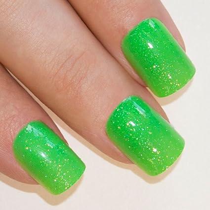 Uñas Postizas de Gel Purpurina Verde Modelo Gea Manicura Francesa Puntas Medianas de Bling Art,