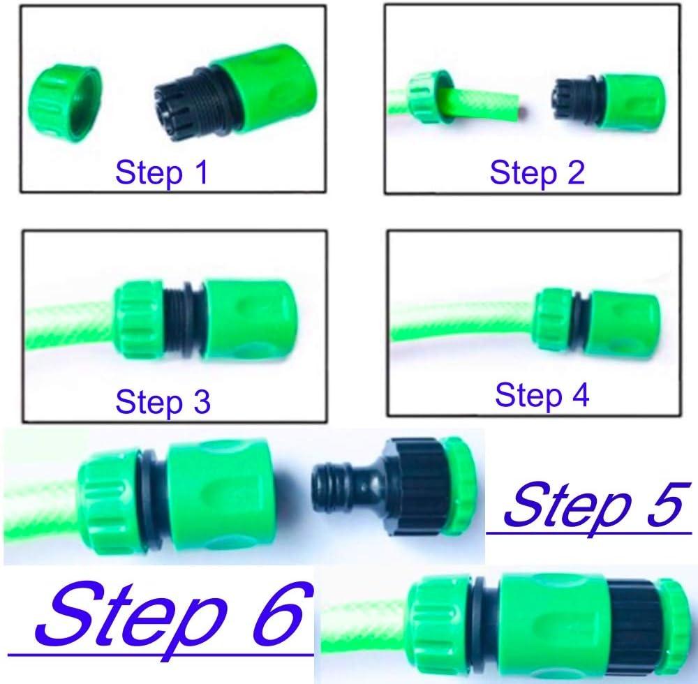 como se Muestra en la Imagen 6 Conectores de Manguera de riego para jard/ín Paquete de 6 Tubo de uni/ón Doble Macho r/ápido