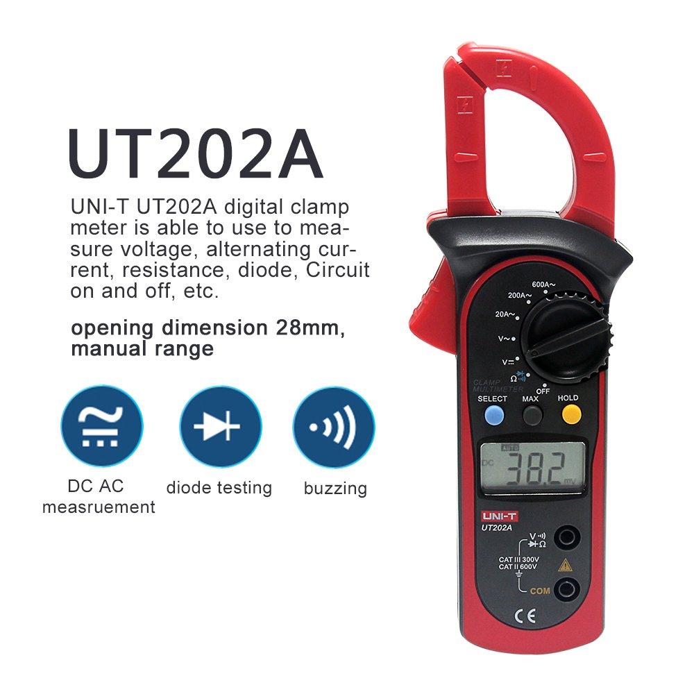 Signstek Uni-t UT202A Auto/Manual Range Digital Handheld Clamp Meter Multimeter Test Tool Digital Handheld Clamp Ohm Tester, AC/DC Voltmeter, AC Current by Signstek (Image #2)