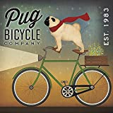 Pug on a Bike by Ryan Fowler Vintage Ads Animals Dogs Pets Print Poster 12x12