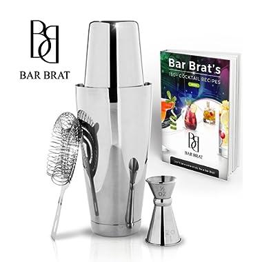 4 Piece Boston Shaker Bar Set by Bar Brat ™ / Bonus 130+ Cocktail Recipes (ebook) / Bonus Jigger/Mix Any Drink To Perfection