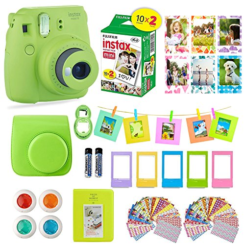 61zcYrp4Y3L - Fujifilm Instax Mini 9 Film Camera LIME Instant Camera + 20 Instant Fuji-Film Shots, Instax Case + 14 PC Instax Accessories Bundle, Fuji Mini 9 Kit Gift, 2 Albums, Lenses, Magnets Frames by Shutter