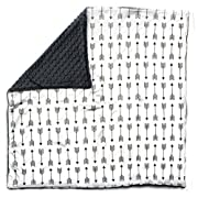 Dear Baby Gear Baby Blankets, Arrows on White, Grey Minky
