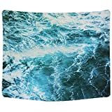Sunm boutique Wall Tapestry Blue Ocean Wave Tapestry Sea Wall Hanging Tapestry Wall Art Decor Tablecloth (Spray,59.1''X82.7'')