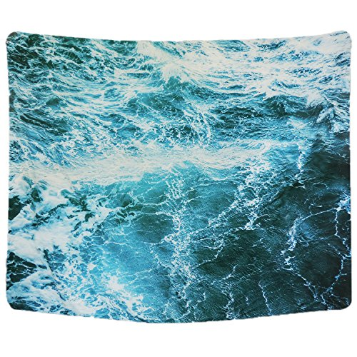 - Sunm boutique Wall Tapestry Blue Ocean Wave Tapestry Sea Wall Hanging Tapestry Wall Art Decor Tablecloth (Spray,59.1