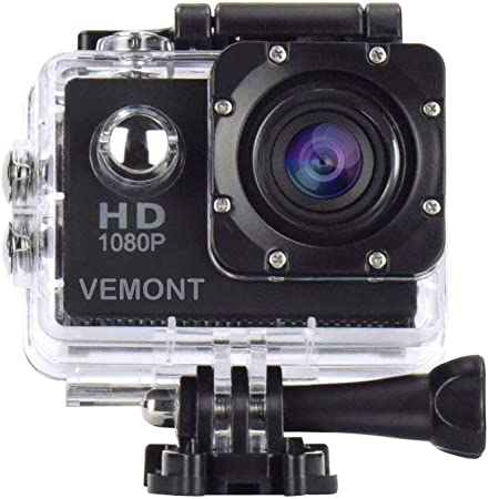 Vemont 1080p 12mp Action Camera Full Hd 2 0 Inch Display 30 M 98 Feet Waterproof Sports Camera With Accessories Kits For Bicycle Motorcycle Diving Swimming Etc Sport Freizeit