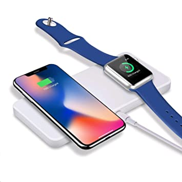 Cargador inalámbrico Sararoom para iPhone 8/8 Plus / X y Apple Watch, cargador de inducción rápida para Samsung Galaxy Note y otros dispositivos ...