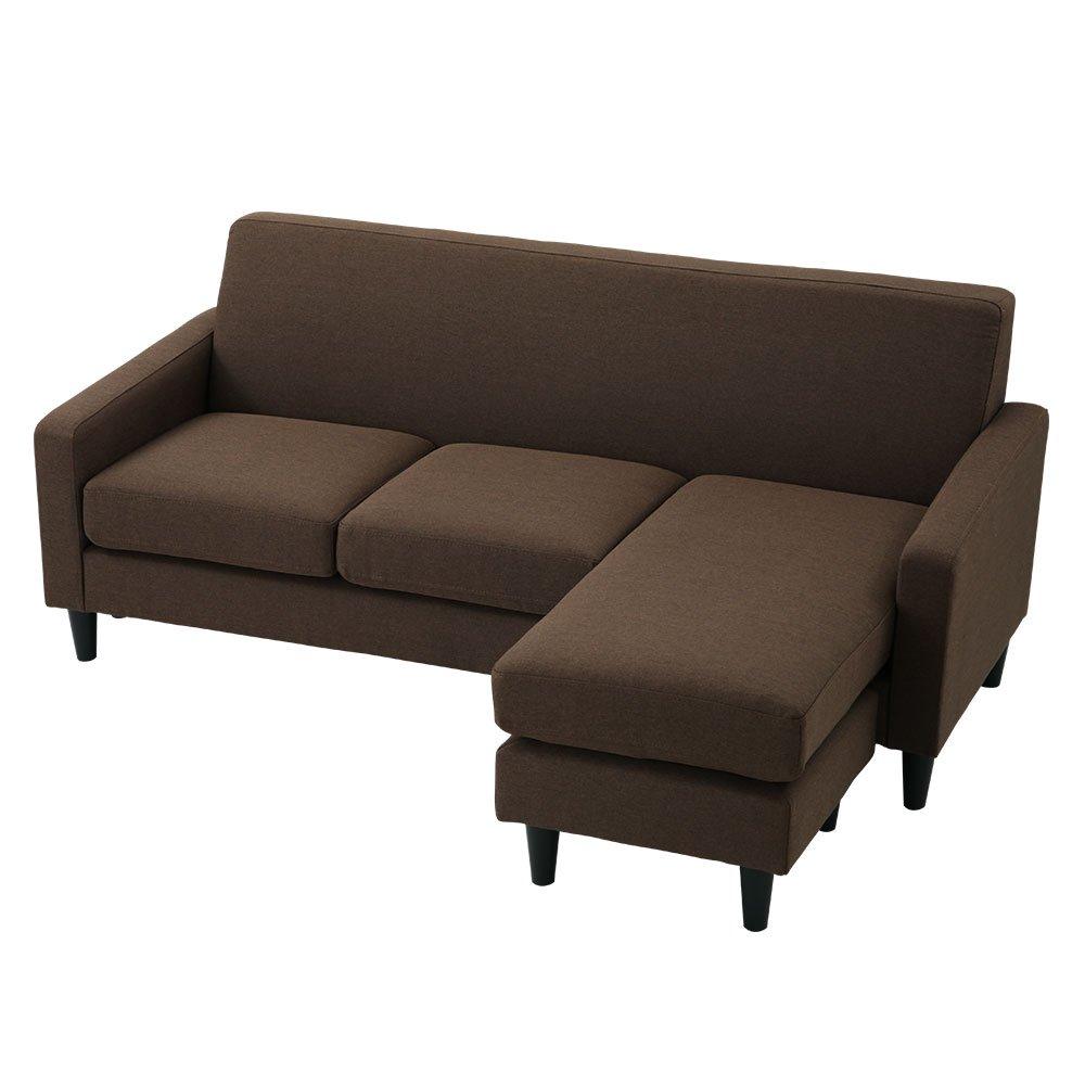 ぼん家具 カウチソファ 3人掛け L字型 ロータイプ可 自由にレイアウト ソファ ソファベッド コーナー 布張り ブラウン B074W2GF6C ブラウン