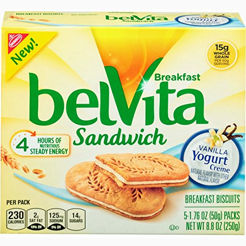 belVita Breakfast Sandwich, Vanilla Yogurt Crème, 5 Count Box, 8.8 Ounce (Pack of 6) (Biscuit Yogurt)