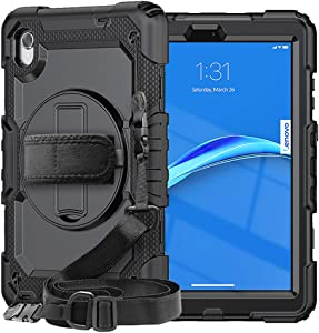 SIBEITU Case for Lenovo Smart Tab M8 with Screen Protector   Case for Lenovo Tab M8 FHD/HD 2020/2019 Full Body Protection Cover for TB-8505F TB-8505X /TB-8705F/TB-8705N/TB-8505FS   Black