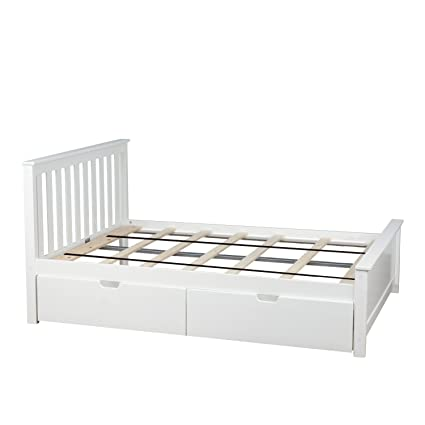 Amazoncom Max Lily Solid Wood Full Size Bed With Under Bed