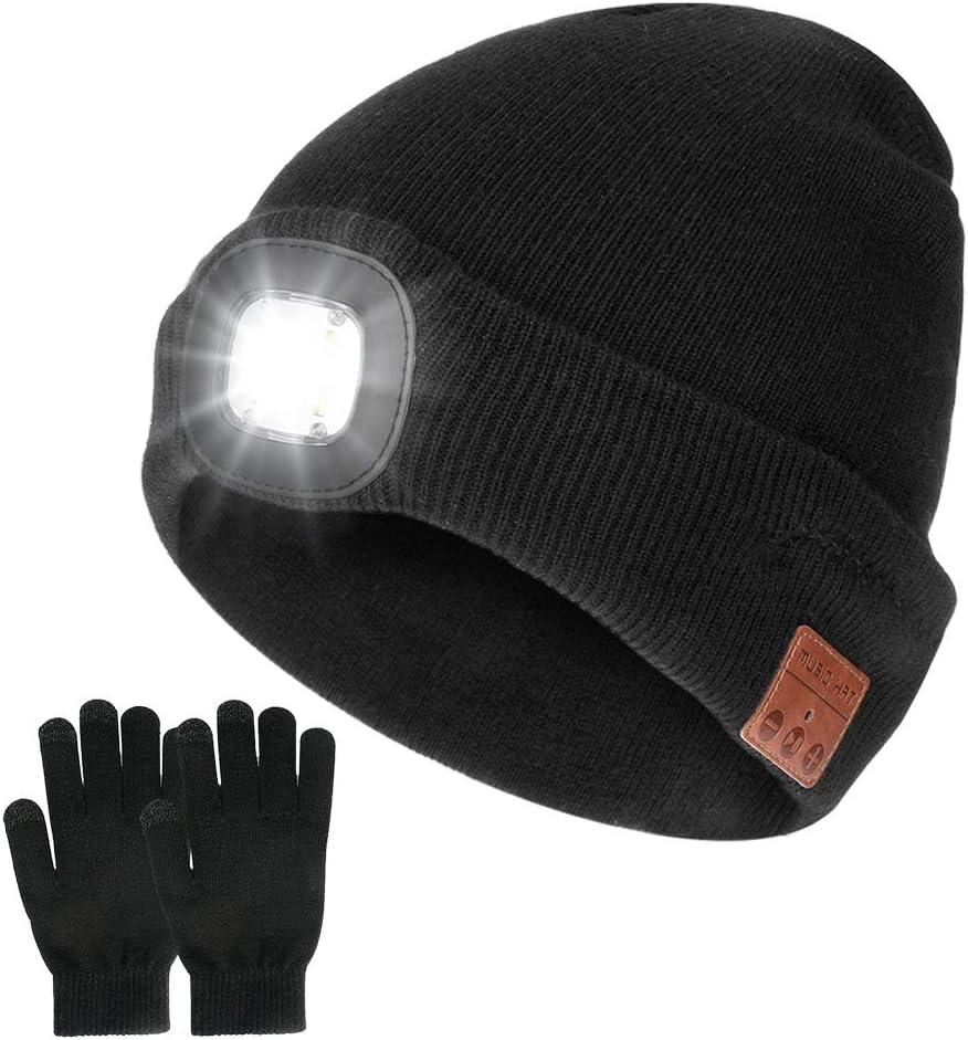 Achort Gorro inalámbrico Bluetooth con faro LED V5.0 Guantes de pantalla táctil USB recargable sombrero de música lavable para hombres mujeres correr esquí senderismo camping ciclismo