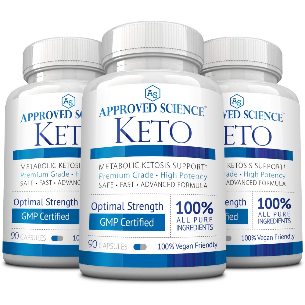 Approved Science® Keto: Pure Exogenous 4 Ketone Salts (Calcium, Sodium, Magnesium and Potassium) and MCT Oil to Boost Ketosis. 3 Bottles by Approved Science