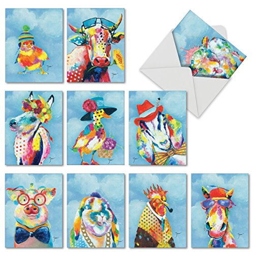 rted Painted Animals Cards 4 x 5.12 inch - Beautiful Funny Blank Note Cards or All Occasions -Cute, Colorful Wildlife Stationery with Envelopes (Box of 10) M6563OCBsl ()