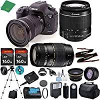 Canon EOS 7D Mark II with 18-55mm IS STM + Tamron 70-300mm AF + 2pcs 16GB Memory + Case + Memory Reader + Tripod + ZeeTech Starter Set + Wide Angle + Telephoto + Flash + Filter