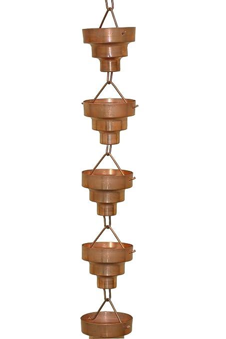 amazoncom monarch pure copper bamboo rain chain 812feet length rain gauges garden u0026 outdoor