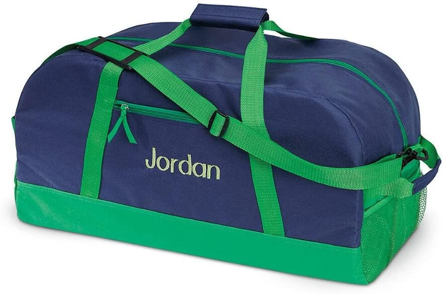 11 x 12 x 23W Navy and Green Kids Personalized Medium Duffel Bag by Lillian Vernon