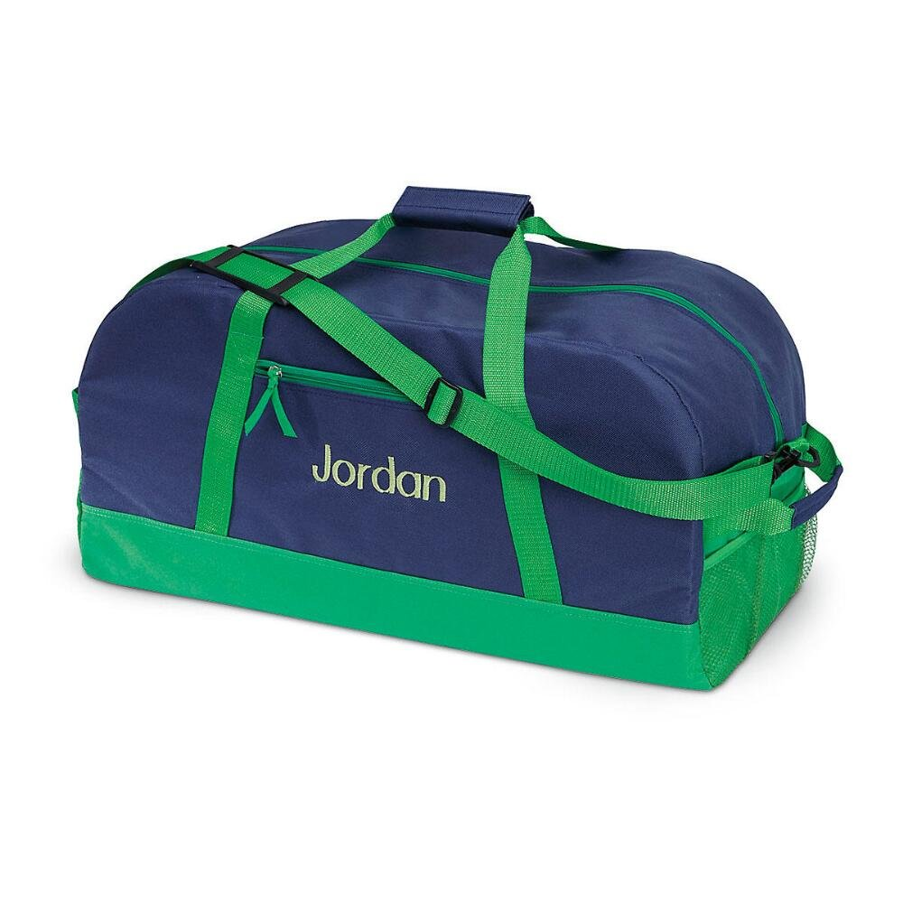 Navy and Green Kids Personalized Medium Duffel Bag by Lillian Vernon 11 x 12 x 23 W